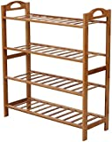 WoodLuv 4-Tier Natural Bamboo Wooden Shoe Rack Storage Organizer