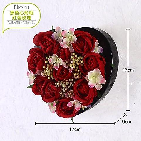 XMJR L'émulation créative idyllique stéréo fleur plantes décoration murale décoration murale décoration murale salon foyer boutiques mur, black heart-shaped box (une rose rouge)