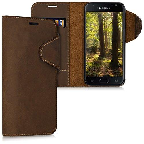 kalibri Samsung Galaxy J3 (2017) DUOS Hülle - Leder Handyhülle für Samsung Galaxy J3 (2017) DUOS - Handy Wallet Case Cover
