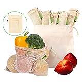 Anjing 10 Stück waschbare natürliche Baumwolle Netzbeutel umweltfreundlich Spielzeug Obst Gemüse Produkte