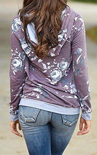 Minetom Donna Autunno Inverno Striscia Felpe Con Cappuccio Manica Lunga Splicing Colore Sweatshirt Casual Obliquo Cerniera Hoodies I Viola