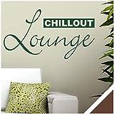 Exklusivpro Wandtattoo Spruch Wand-Worte Chillout Lounge inkl. Rakel (wrt06 braun) 80 x 44 cm mit Farb- u. Größenauswahl