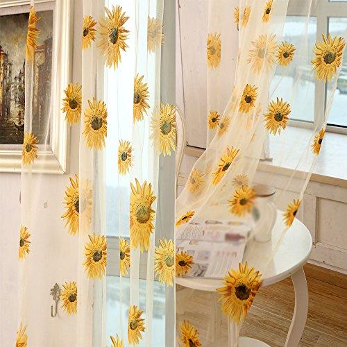 Leey tende per balconi trasparenti di lusso di alta qualità schermi a ricamo floreale han shilei silk screening tende di pizzo del giardino tenda della garza del ricamo schermo in stile europeo tenda oscurante tenda a rullo (giallo, 100_x_200_cm)