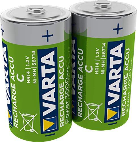 Varta Rechargeable Accu Ready2Use vorgeladnener C Baby (300 mAh NiMh Akku, wiederaufladbar ohne Memory-Effekt, sofort einsatzbereit, 2er Pack)