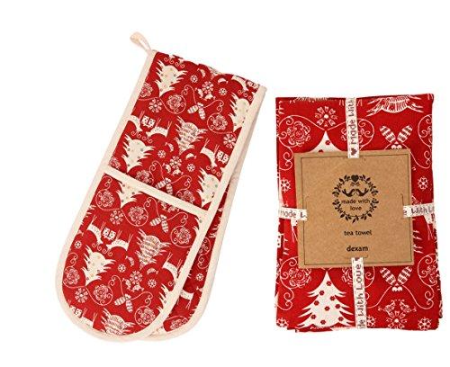 Festive Rustikal Rot und Creme Nordic Winter Weihnachtsbaum Design–Weihnachten Geschirrtuch & doppelter Ofenhandschuh Set