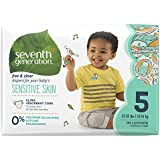 Seventh Generation Baby Diapers, Free & Clear For Sensitive Skin With Animal Prints, Size 5, 92 Count (Packaging May Vary)