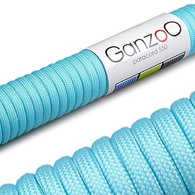 Paracord 550 Seil, 31 Meter, für Armband, Knüpfen von Hundeleine oder Hunde-Halsband zum selber machen / Seil mit 4mm Stärke / Mehrzweck-Seil / Survival-Seil / Parachute Cord belastbar bis 250kg (550lbs), Farbe: himmelblau, Marke Ganzoo von Ganzoo