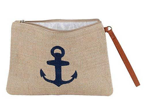 Kosmetiktasche klein für Handtasche Kulturbeutel mit Reißverschluss Anker Maritim Alsino KT-215 Anker blau - Weihnachten Nautische