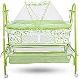 Baybee Comfort Cradle Cot - New Born Baby Swing Cradle With Mosquito Net & Wheel (Green)