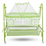 #2: Baybee Comfort Cradle Cot - New Born Baby Swing Cradle with Mosquito Net & Wheel (Green)