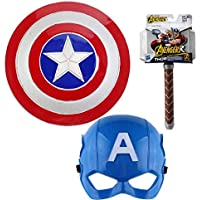 "Anokhe Collections Marvel Legends "" Captain America & Thor Cosplay "" Mask with Lightning Shield & Lightning Hammer with…"