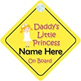 Daddy's Little Princess On Board (003) Personalised Car Sign New Baby Girl / Child Gift / Present