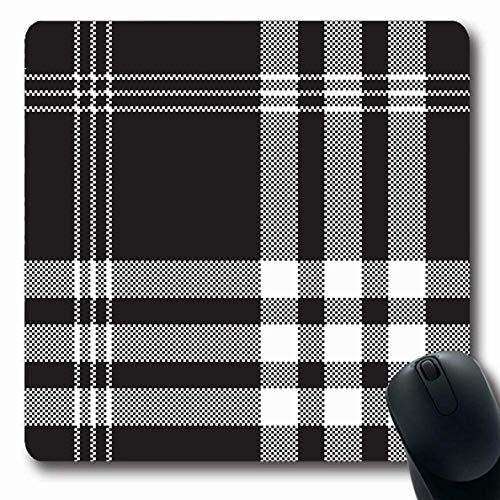 Luancrop Mousepad Oblong Abstract Plaid Schwarz Weiß Check Pixel Muster Flanell Tartan Scottish Creative Design Schal Büro Computer Laptop Notebook Mauspad, Rutschfester Gummi -