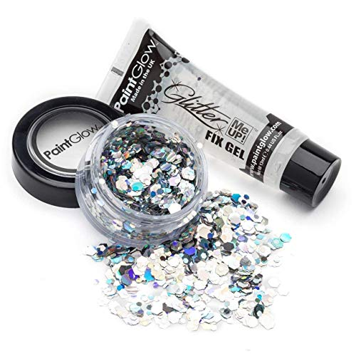 PaintGlow Disco Fever Silber Glitter Glitzer und 13ml Klebstoff Fixier-Gel für Gesicht und Körper ideal für Karneval Festivals und Kunsthandwerk