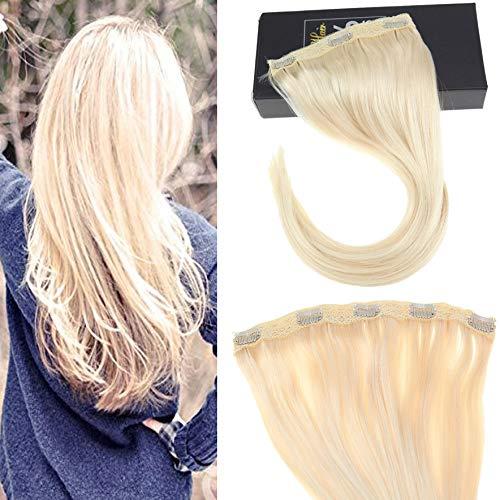 Sunny 60cm 70g extension clip capelli veri fascia unica bionda platino 60# 100% veri remy pelo clip in capelli estensione 18 pollice