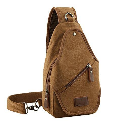 Freizeit Mode Canvas Tasche Brust Pack Männer Outdoor-Sport Rucksack Tasche Satchel Schräg,Brown-L