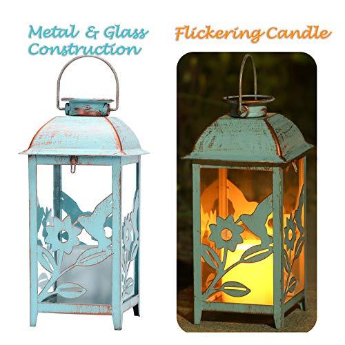 Lámpara Solar de exterior Colibrí Azul | Lámpara de Jardín Solar en Metal Antiguo y Vidrio | Lámpara colgante solar para interiores o exteriores o Lámpara de mesa solar con vela LED parpadeante