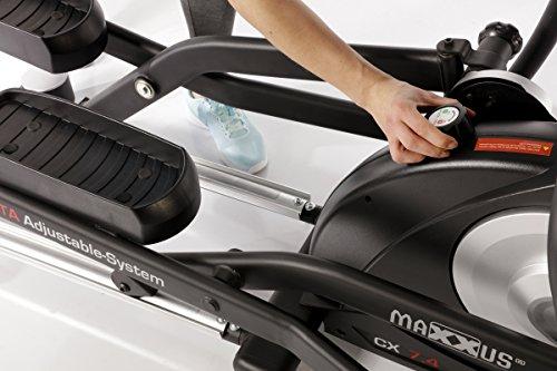 MAXXUS® CROSSTRAINER CX 7.4, Ellipsentrainer mit 5-fach Schrittlängenverstellung! Flache, elliptische Bewegung wie beim Laufen. Elektr. gesteuertes Magnetbremssystem, Trainingsprogramme, HRC-Programm, Schienensystem für sanften Lauf. Auf unterschiedliche Körpergrößen einstellbare Schrittlänge. - 4