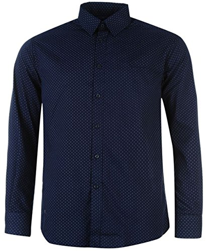 mens-designer-pierre-cardin-striped-plain-check-shirt-medium-nvy-wht-geo