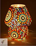 Best Bedroom Lamps - EarthenMetal Multicolour Mosaic Style Dome Shaped Glass Table Review