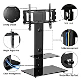 Popamazing Black Glass TV Stand with Bracket 2 Storage Shelves for 30 to 55 Inches Plasma LCD LED 3D TV