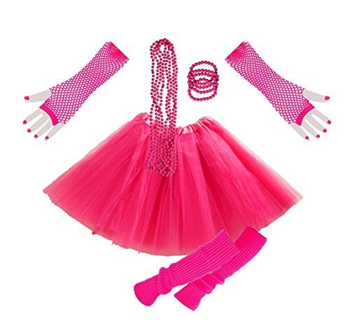 (InnoBase 1980s Fancy Dress Zubehör Neon Erwachsener Tutu Beinwärmer Fishnet Pink Handschuhe Mehrfarbig Perlenkette Perlen Halsketten Armbänder 80er Mädchen Frauen Night Out Party Kleid(A2))