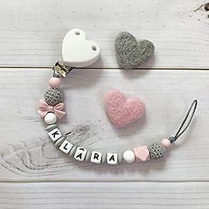 Schnullerkette mit Namen Nuckelkette weiß rosa grau Silikon Mädchen