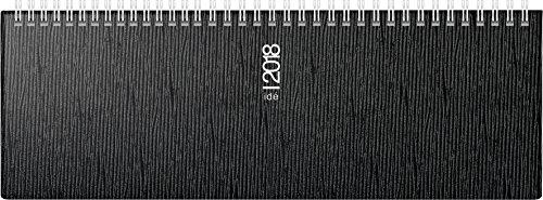 rido/idé 703112390 Tischkalender/Querterminbuch galerie, 2 Seiten = 1 Woche, 307 x 105 mm, Kunststoff-Einband Valencia schwarz, Kalendarium 2018, Wire-O-Bindung
