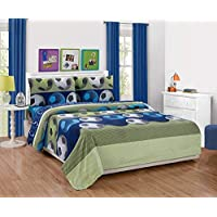Elegant Home 4 Piece Printed Sheet Set with Pillowcases Flat Fitted Sheet for Boys/Kids Queen