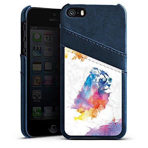 Apple iPhone 5s Housse Étui Protection Coque Lion Peinture à l'eau couleurs Étui en cuir bleu marine