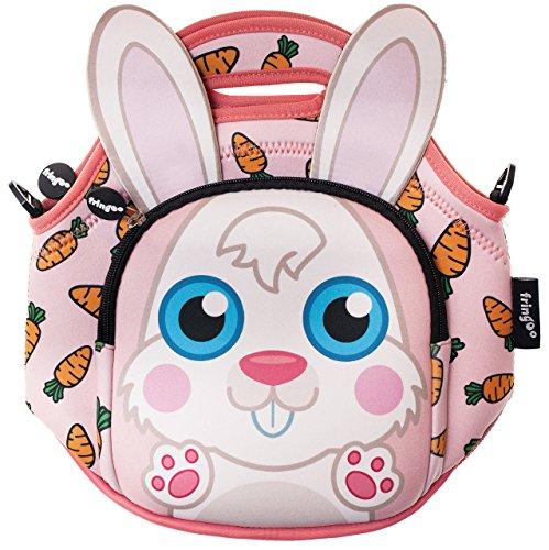 Fringoo borsa termica porta pranzo per bambini in neoprene con tasca refrigerante con chiusura a zip e tracolla, motivo coniglietto, 11,81x 11,81x 0,79cm