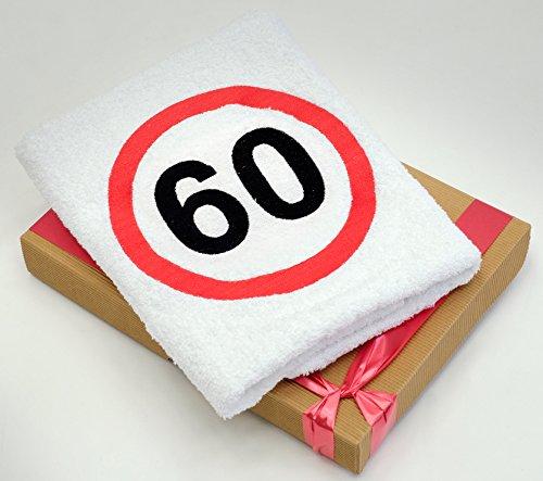 Geschenk-Handtuch zum 60 Geburtstag mit aufgesticktem Verkehrszeichen für Mann und Frau - eine praktische 60 jähriges Jubiläum Geschenkidee - ein dauerhaft nützliches 60 Jahre Geburtstagsgeschenk (29-jährige Frauen)
