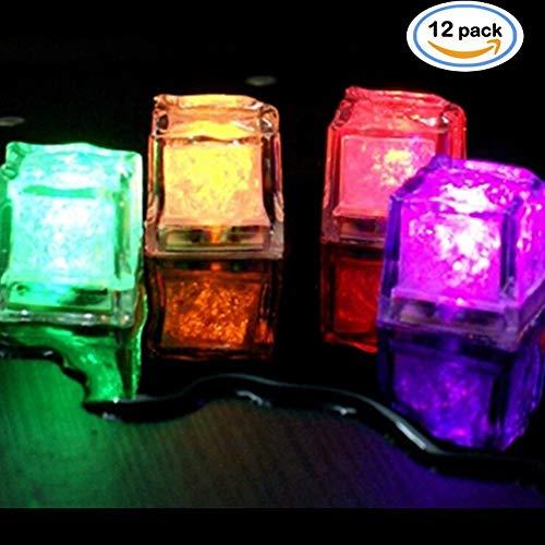 NHsunray Tauchpumpe dekorative Farbwechsel LED Ice Cubes-12 Pack Multi-Color Blitzlicht trinken Wein Hochzeit Party Dekoration