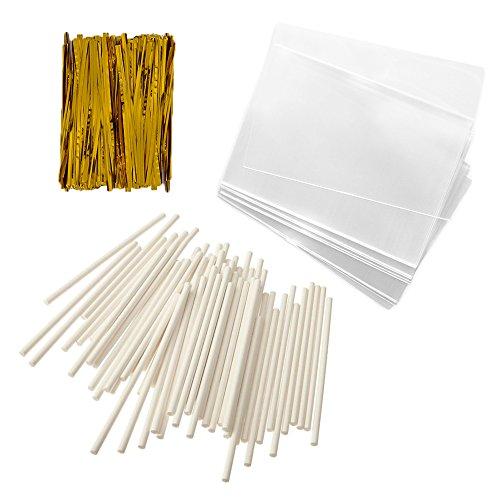 ke Pop Treat Bag Sets Metallic Twist Ties, Lollipop Sticks, Clear Cello Favor Bags, 4 W, Gold by Baking Addict ()