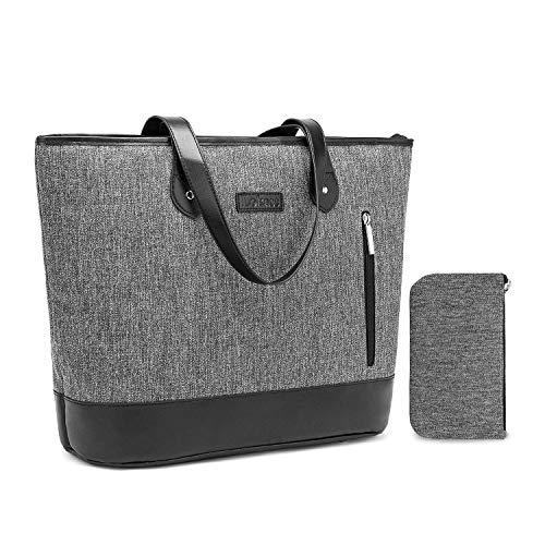 FOSTAK Damen Handtasche Umhängetasche Aktentasche Messenger Bag Reisetasche Shopper Frauentasche Schultertasche Tote Bag Businesstasche Arbeitstasche Laptoptasche für 15 Zoll Laptop,Linien Grau