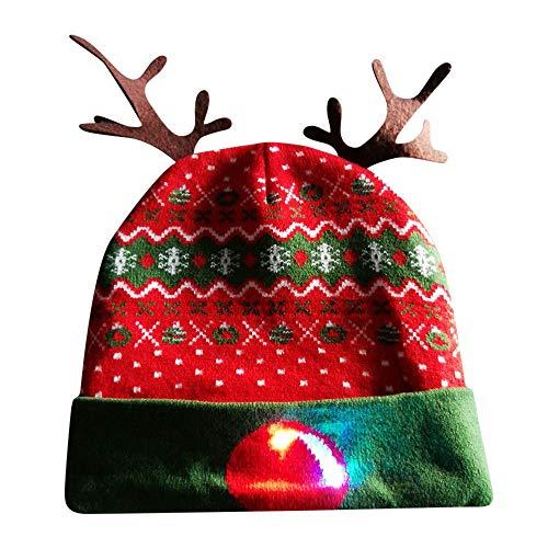 Ears Männer Frau Damen Weihnachtsmütze Weihnachtsmann Elch Drucken Geweih\nSüß Mütze Stricken Beleuchten Bunte Lichter Festlicher Hut Faser Leuchtende Mütze Winter Warm bleiben
