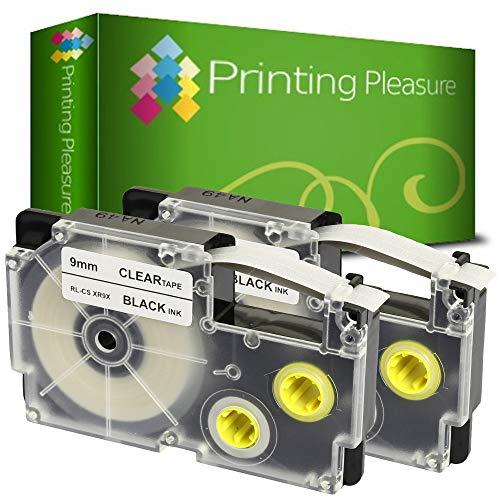 2x Schriftband kompatibel für Casio XR-9X Schwarz auf Farblos (9mm x 8m) für CasioKL-60 70E 100 100E 120 200 200E 300 750 780 820 2000 7000 7200 7400 8100 8200 P1000 C500 L300