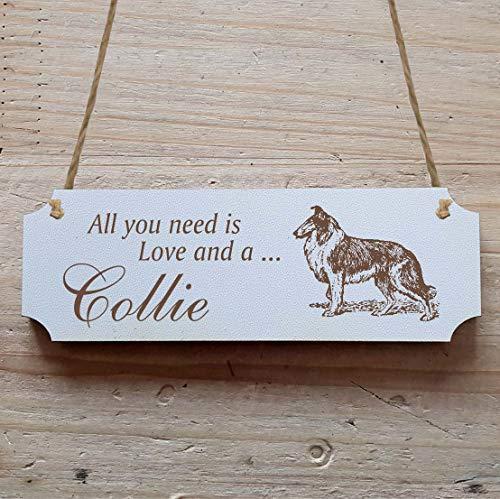 Schild « COLLIE LANGHAAR » 29 x 9,7 cm - Dekoschild Holzschild Türschild - Hund Haustier -
