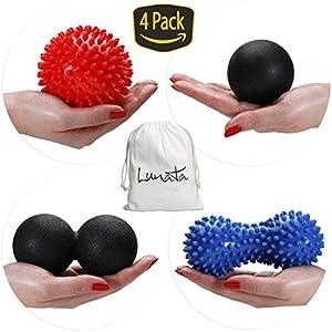 Lunata Upgrade 2019 4x Set Massageball Faszienball Igelball Noppenball Massagegeblle Helfen Bei Linderung Von Verspannungen Und Stress