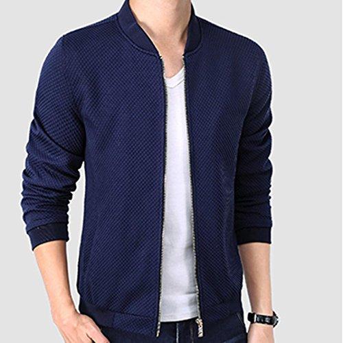 OverDose Herren dünner beiläufiger Baseball Kleidung Jacken Mantel Outwear Mantel Blau