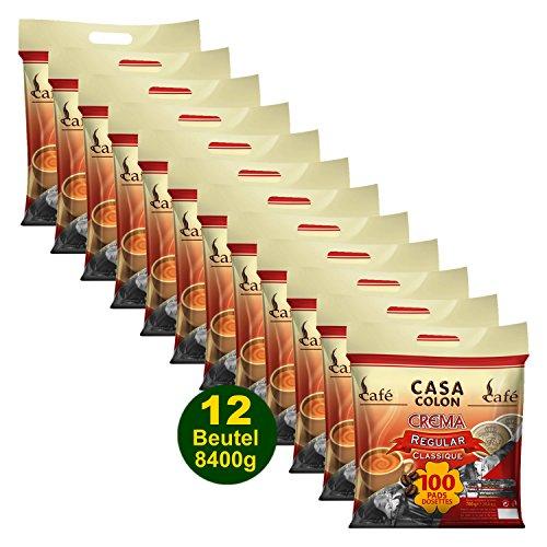CASA COLON Crema Regular 12x 100 Kaffeepads (8400g) - für alle Pad Systeme geeignet