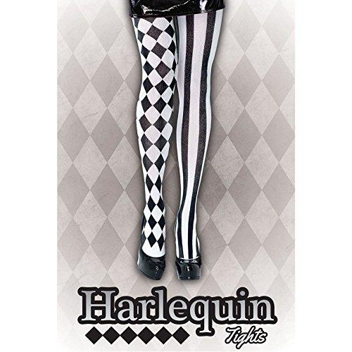 Harlequin-Strumpfhose, Strümpfe, Schwarz/Weiß, Beine Kostüm Clown Jester Harley (Weiß Ohrringe Kostüm Und Schwarz)