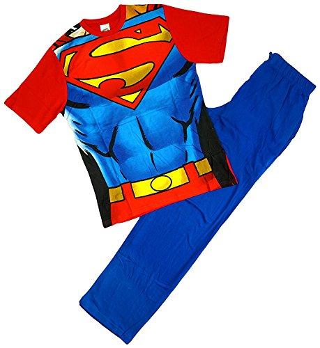 Herren SUPERMAN Muskel Körper Neuheit KostüM Baumwollschlafanzug Größe S M L XL - Blau, Blau, (M&s Superman Kostüm)