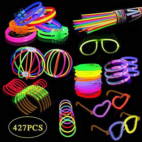 200 Knicklichter, Festival Ausrüstung, Leuchtstäbe Partylichter inkl.200 x 2D-Verbinder, 5 x Kreisverbinder, 6-Farb-Mix(427 Stück)