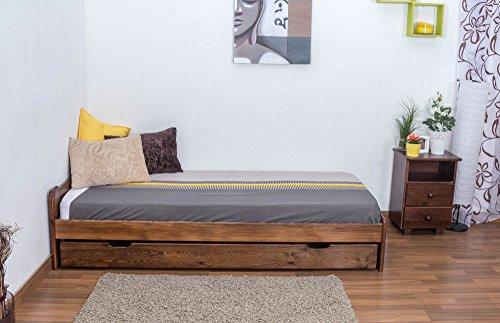 Futonbett / Massivholzbett Kiefer Vollholz massiv Nussfarben A9, inkl. Lattenrost – Abmessung 90 x 200 cm