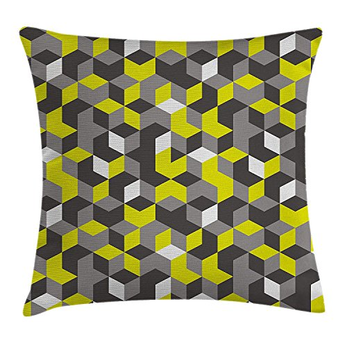 ZHIZIQIU Grey and Yellow Throw Pillow Cushion Cover, 3D Print Inspired Modern Geometrical Boxes Cubes Image, Decorative Square Accent Pillow Case, 18 X18 Inches, Mustard Yellow Black and White -
