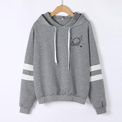 KaloryWee Clearance Womens Planet Print Hoodie Sweatshirt Long Sleeve Jumper Hooded Pullover Tops Blouse