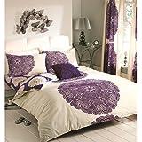 Just Contempo - Biancheria da letto double face motivo floreale barocco copripiumino matrimoniale (in misto cotone) melanzana (panna viola)