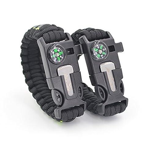 Auchee Paracord Bracelet de survie [2 Pack] bande réfléchissante   vous réglable   Compass   Allume-feu   sifflement   Flint Scraper - Randonnée Camping Pêche Chasse Équipement de vélo (Noir, 8.5inch + 7.7 to 9.5inch)