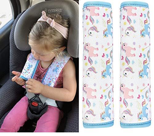 2x HECKBO cinturón de coche unicornio protector de la niña hombreras cinturón protector de hombros cojín de hombro asientos de coche almohadillas de cinturón para niños y adultos